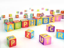 Alphabet spelled by abc cubes. Word alphabet spelled by abc cubes on white background stock illustration