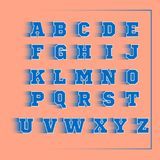 Alphabet sport 3D vector blue. On peach backround Stock Image