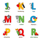 Alphabet sport from J to R Royalty Free Stock Photography