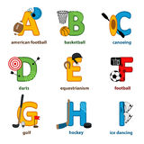 Alphabet sport from A to I Royalty Free Stock Photos