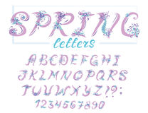 Alphabet in spring style with flowers. Vector colorful letters. Hand drawn font Stock Image
