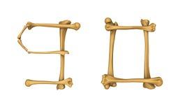 Alphabet squelettique numéro 9 et 0 Images libres de droits