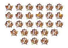 Alphabet stars set. Alphabet set with shiny stars decoration Royalty Free Stock Photography