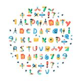 Alphabet stationery letters vector abc font alphabetic icons of office supply and school tools accessories for education Stock Photography