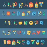 Alphabet stationery letters vector abc font alphabetic icons of office supply and school tools accessories for education. Pencil or pen alphabetically isolated Stock Illustration