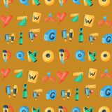 Alphabet stationery letters vector abc font alphabetic icons of office supply and school tools accessories for education. Pencil or pen alphabetically isolated Royalty Free Illustration