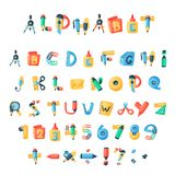 Alphabet stationery letters vector abc font alphabetic icons of office supply and school tools accessories for education. Pencil or pen alphabetically isolated vector illustration