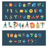 Alphabet stationery letters vector abc font alphabetic icons of office supply and school tools accessories for education Royalty Free Stock Image