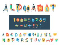 Alphabet stationery letters vector abc font alphabetic icons of office supply and school tools accessories for education. Pencil or pen alphabetically isolated Royalty Free Stock Photos