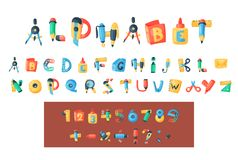 Alphabet stationery letters vector abc font alphabetic icons of office supply and school tools accessories for education. Pencil or pen alphabetically isolated Royalty Free Stock Image