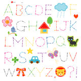 Alphabet stitch. And cute appliques Stock Photo