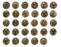 Alphabet Stone Button Charms stock illustration