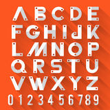 Alphabet. Strong style with flat design & long shadow orange background Royalty Free Stock Image