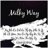 Alphabet in style of the milky way with the words `milky way`. Illustration vector illustration
