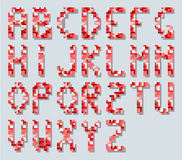 ALPHABET IN STYLE PIXEL RETRO VINTAGE RED SIMPLE Stock Images