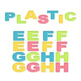 Alphabet stylized colorful plastic Stock Photos