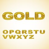 Alphabet stylized gold. With shiny surface, vector Stock Photos