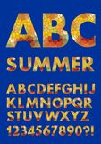 Alphabet in summer colors, mosaic texture design, polygonal fill, uppercase letters, numbers, question and exclamation. Mark, vector EPS 10 Royalty Free Stock Photography