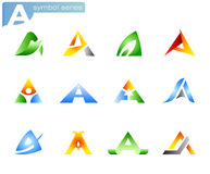 Alphabet A symbols. 12 different alphabet A symbols vector Royalty Free Stock Photo