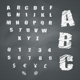 Alphabet and Symbols on Chalkboard Royalty Free Stock Images