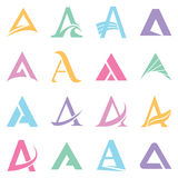 Alphabet symbols  and elements of A letter. Alphabet symbols and elements of A letter, also as emblem, such a logo. In white background Stock Photo
