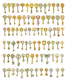 Alphabet and symbols on fairytale keys. Painting, isolated on wh Stock Photo