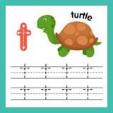 Alphabet T exercise with cartoon vocabulary. Illustration, vector stock illustration