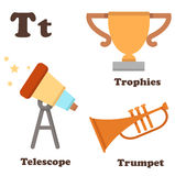 Alphabet T letter.Telescope,Trophies,Trumpet Royalty Free Stock Photography