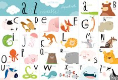 Cute animal vector Alphabet table Royalty Free Stock Images