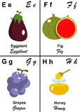 Alphabet table letter from E to H. Illustrated tables of letters for learning reading and writing from E as Eggplant to H as Honey with fruits and vegetables to Royalty Free Stock Images