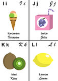 Alphabet table letter from I to L. Illustrated tables of letters for learning reading and writing from I as Icecream to L as Lemon with fruits and vegetables to Stock Image