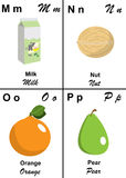 Alphabet table letter from M to P. Illustrated tables of letters for learning reading and writing from M as Milk to P as Pear with fruits and vegetables to hang Royalty Free Stock Images