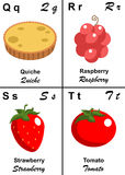 Alphabet table letter from Q to T. Illustrated tables of letters for learning reading and writing from Q as Quiche to T as Tomato with fruits and vegetables to Royalty Free Stock Image
