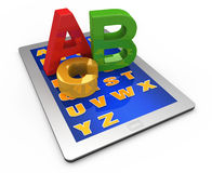 Alphabet on the tablet computer. Letters of the alphabet on the tablet computer Vector Illustration
