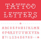 Alphabet - Tattoo Vector Font. Type letters, numbers and punctuation marks in traditional tattoo style vector illustration