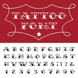 Alphabet - Tattoo Vector Font. Type letters, numbers and punctuation marks in traditional tattoo style royalty free illustration