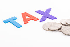 Alphabet TAX in isolated white background, finance concept Royalty Free Stock Images