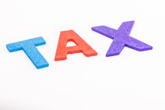 Alphabet TAX in isolated white background Stock Images
