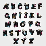 Alphabet with tessellated geometric protrusions Stock Images