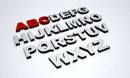 Alphabet text. The alphabet with emphasis on the letters ABC on a white background Stock Photography
