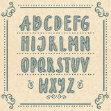 Alphabet tiré par la main avec des lettres de griffonnage Illustrations de vecteur réglées illustration stock