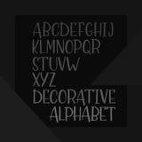 Alphabet tiré par la main décoratif, police de vecteur manuscrite Image libre de droits