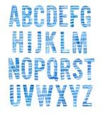 Alphabet tiré par la main d'aquarelle réglé sur le thème de mer illustration de vecteur