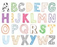 Alphabet tiré par la main de bande dessinée de lettre d'enfants d'enfants Photo libre de droits