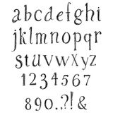 Alphabet tiré par la main de crayon Photographie stock