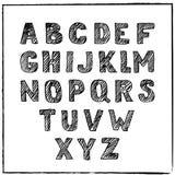Alphabet tiré par la main de croquis de vecteur Police rayée par encre Images stock