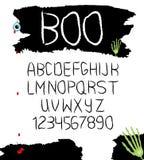 Alphabet tiré par la main de vecteur avec des nombres dans la conception noire et blanche pour Halloween et semblable Vecteur illustration libre de droits