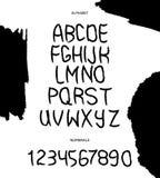 Alphabet tiré par la main de vecteur avec des nombres dans le style noir et blanc Vecteur illustration stock