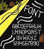 Alphabet tiré par la main de vecteur avec des nombres Vecteur illustration stock