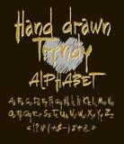 Alphabet tiré par la main Ensemble de vecteur d'alphabet calligraphique d'acrylique ou d'encre Fond noir Lettres de l'alphabet Photo libre de droits